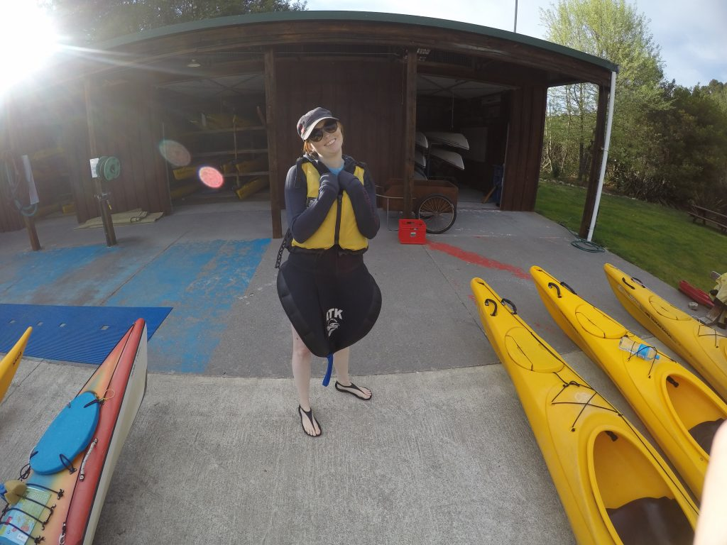 Hayley getting ready to kayak | International Hotdish