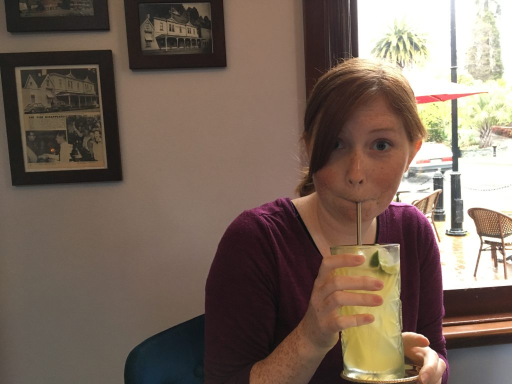 Hayley enjoying a drink at Cod & Lobster in Nelson | International Hotdish