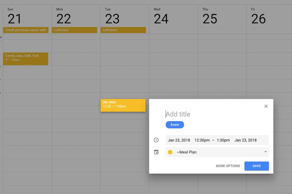 Screenshot of adding new item to Google calendar
