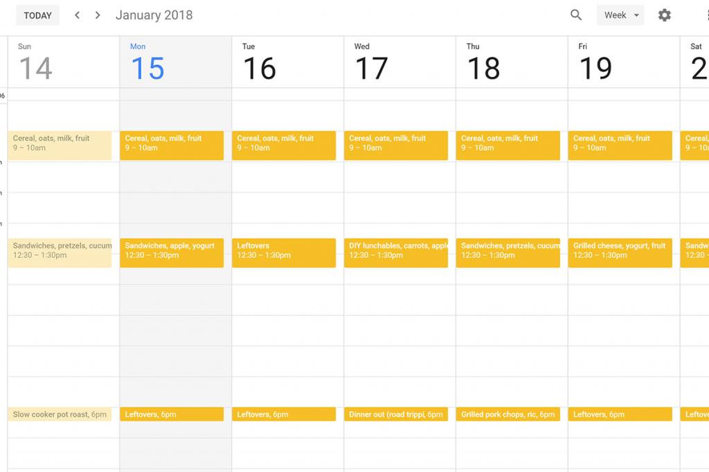 Screenshot of google calendar meal plan