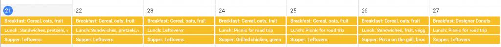 Google calendar meal plan using labels