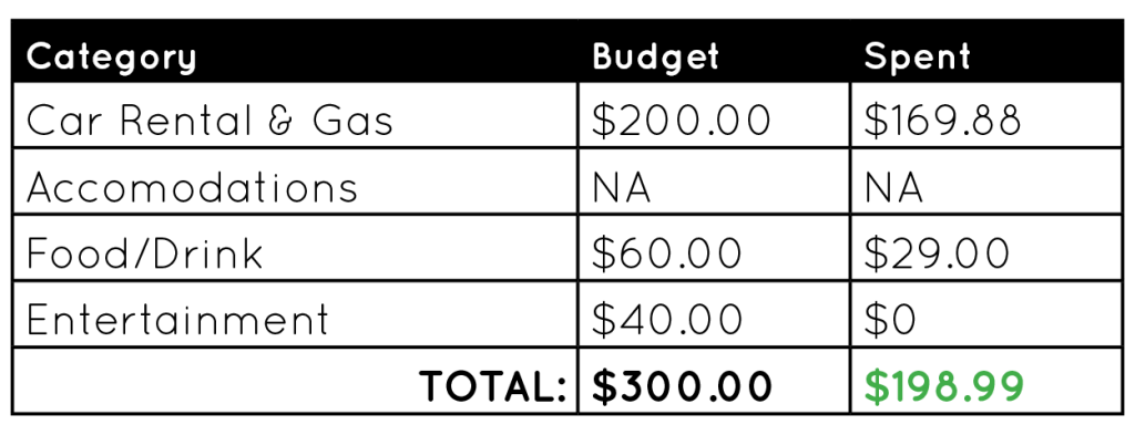 Australia day trip budget table