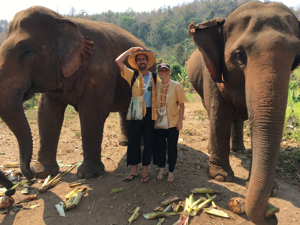 Hayley and Scott posing between two adult Asian elephants - International Hotdish